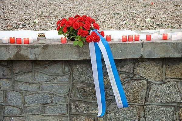 Iedere reis legt het Nederlands Auschwitz Comite een bloemstuk op de asheuvel van Sobibor